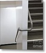 Building Interior White Staircase With Handrails Metal Print