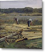 Building Site At Wesslingersee, 1876 Oil On Canvas Metal Print