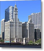 Buildings By The Chicago River, Chicago Metal Print