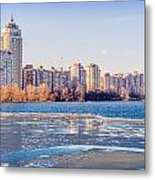 Buildings Close To The Frozen River Metal Print