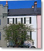 Buildings In A City, Rainbow Row Metal Print