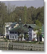 Buildings On The Shore Of Section Of Dal Lake In Srinagar Metal Print