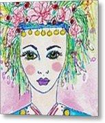 Bulgarian Follk Girl Art Metal Print