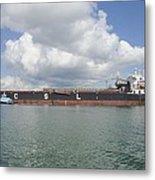 Bulk Cargo Ship With Tug Escort Metal Print