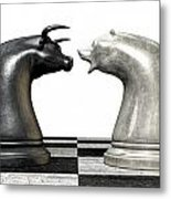 Bull And Bear Market Trend Chess Pieces Metal Print