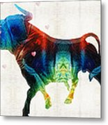 Bull Art - Love A Bull 2 - By Sharon Cummings Metal Print