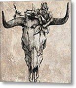 Bull Skull And Rose Metal Print