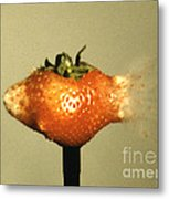 Bullet Piercing A Strawberry Metal Print