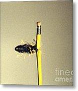 Bullet Piercing Pencil Metal Print by Gary S. Settles