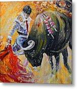 Bullfighting In Neon Light 02 Metal Print