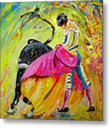 Bullfighting In Neon Light 01 Metal Print