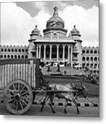 Bullock Cart And Building Metal Print