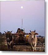 Bullock Cart Under Full Moon - Burma Metal Print