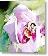 Bumble Bee On Rose Metal Print