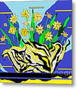 Bumble Bee Vase Metal Print by Lewanda Laboy