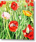 Bunch Of Poppies II Metal Print