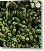 Bunches Of Asparagus On Display At The Farmers Market Metal Print