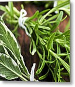 Bunches Of Fresh Herbs Metal Print