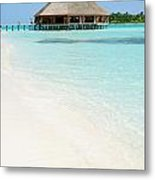 Bungalow Architecture And Beach On A Maldivian Island Metal Print