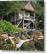 Bungalow In Koh Rong Island Beach In Cambodia Metal Print