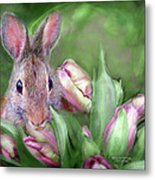 Bunny In The Tulips Metal Print