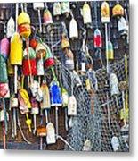 Buoys On Wall - Cape Neddick - Maine Metal Print