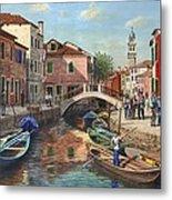 Burano Canal Venice Metal Print