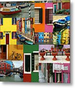 Burano Italy Collage Metal Print