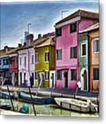 Burano Italy - Colorful Homes Metal Print