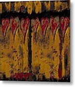 Burgandy Hearts On Gold Metal Print
