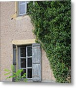Wood Shutters With Vine Metal Print