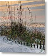 Buried Fence And Sea Oats Sunrise Metal Print