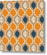 Burlap Blue And Orange Design Metal Print