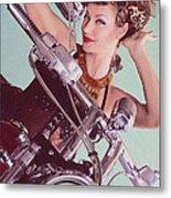 Burlesque Biker -portrait Metal Print