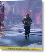 Burlingame Firemen On The Scene Of A House Fire Metal Print