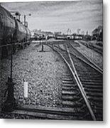 Burlington Vermont Train Yard Vintage Grunge Black And White Metal Print