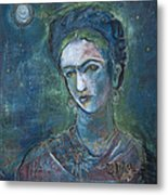Burn It Blue Frida Metal Print