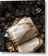 Burning Books Metal Print