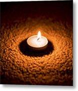 Burning Candle Metal Print