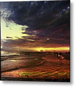 Burning Night On Siesta Key  Metal Print