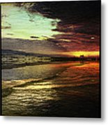 Burning Night On Siesta Key II Metal Print by Alison Maddex