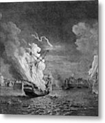 Burning Of The 'prudent' At  Louisbourg Metal Print
