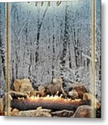 Burning Yule Log Metal Print