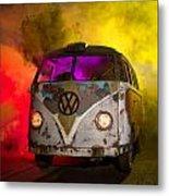 Bus In A Cloud Of Multi-color Smoke Metal Print