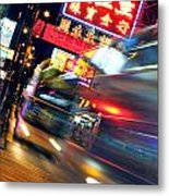 Bus Race In Mong Kok Metal Print by Lars Ruecker