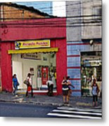 Bus Stop On Rua Teodoro Sampaio Metal Print