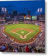 Busch Stadium St. Louis Cardinals Night Game Metal Print