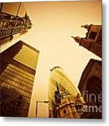 Business Architecture Skyscrapers In London Uk Golden Tint Metal Print