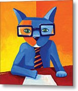 Business Cat Metal Print by Mike Lawrence