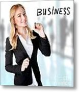 Business Woman In The Office Metal Print